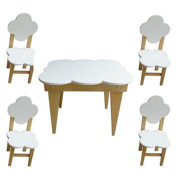 Conjunto mesa e 4 cadeiras nuvem infantil de madeira