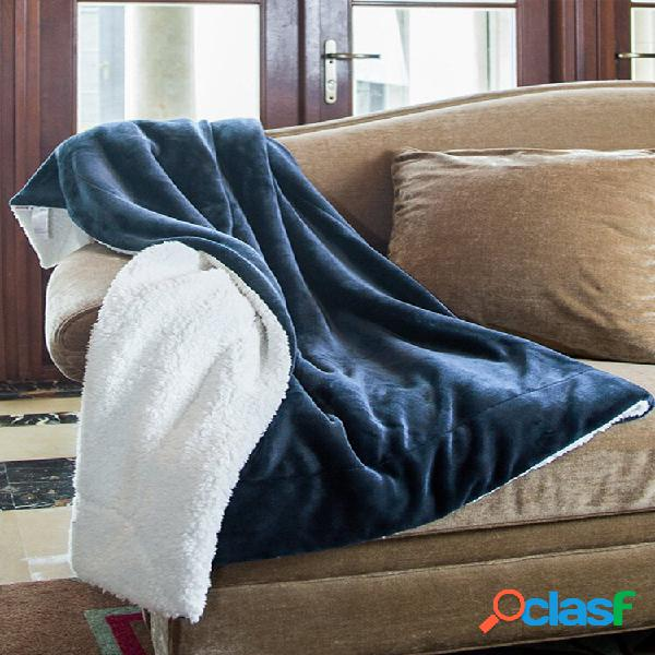 Cobertor reversível de lã de flanela 130 * 160cm extra soft escova cobertor leve de tecido acolchoado
