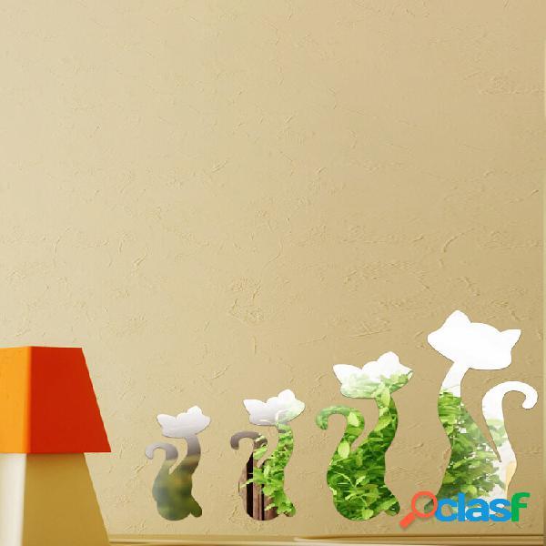Diy 3d quatro gatos bonitos acrílico adesivos de parede de espelho home room art decal