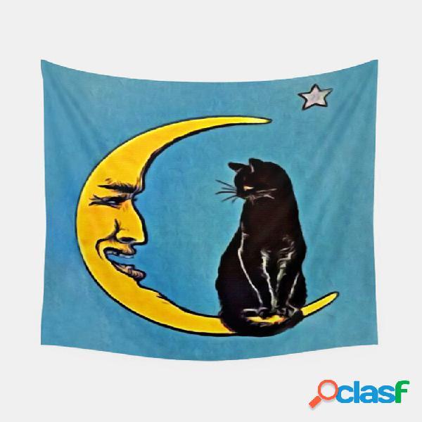 Black cat and moon padrão tapeçaria art home decoration decoração de quarto de sala de estar