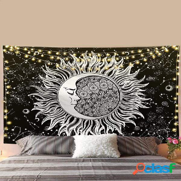 Mandala sol lua padrão tapeçaria tapeçaria tapeçaria sala de estar decoração de quarto