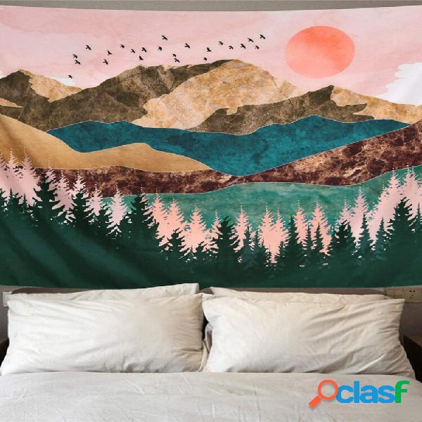 Tapeçaria suspensa na parede, montanha, floresta, árvore, árvore, tapeçaria, pôr do sol, tapeçaria, paisagem natural, ta