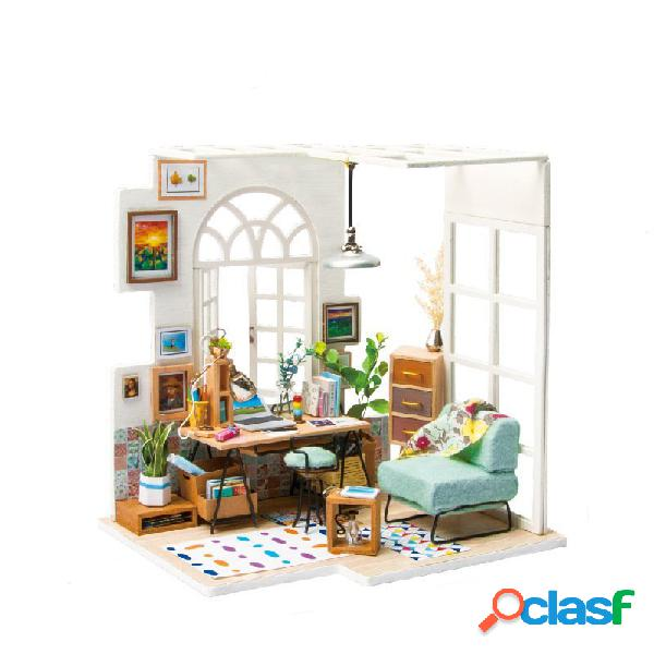 Art cottage boneca house miniature wooden bonecahouse with furniture
