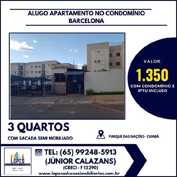 Alugo apartamento barcelona 3 quartos (térreo) com 3