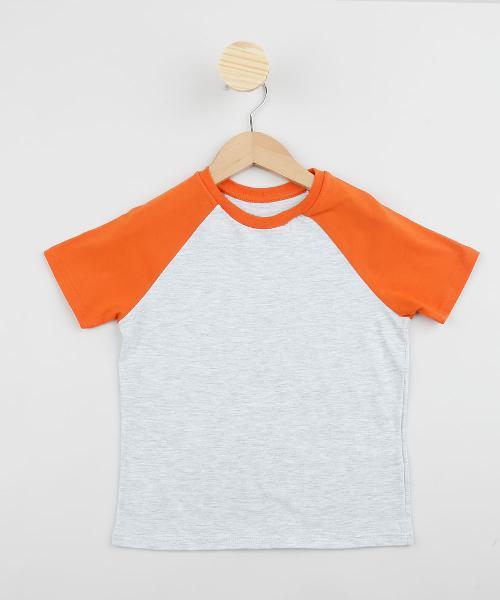 Camiseta infantil básica manga curta raglan laranja