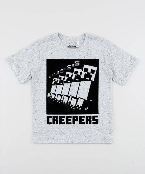 Camiseta infantil minecraft manga curta gola careca cinza