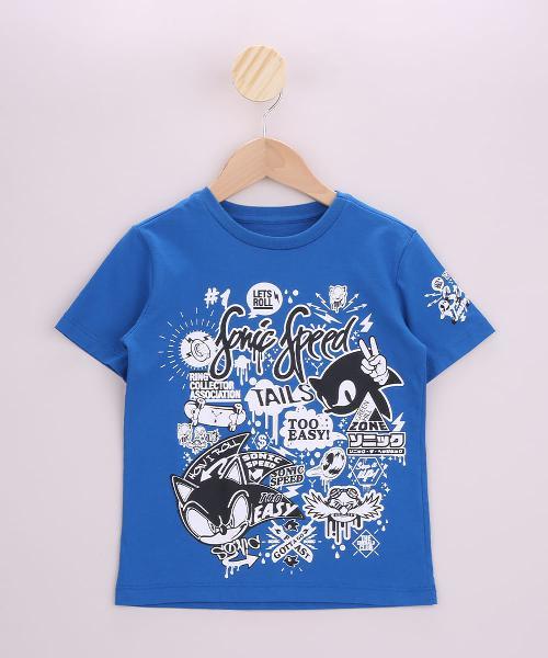 Camiseta infantil sonic manga curta azul