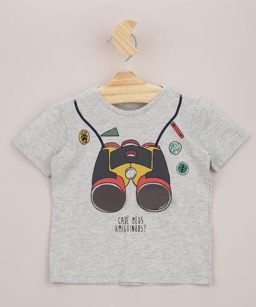 Camiseta infantil com estampa interativa de binóculo manga