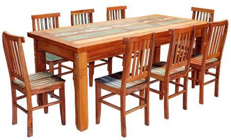 Conjunto mesa de jantar em madeira demolição 2m com 8