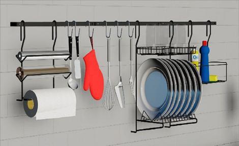 Cozinha suspensa 9 pçs kit04 - dicarlo - cozinha compacta /