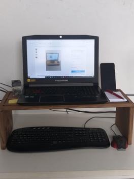 Suporte madeira base para notebook monitor para cama e mesa