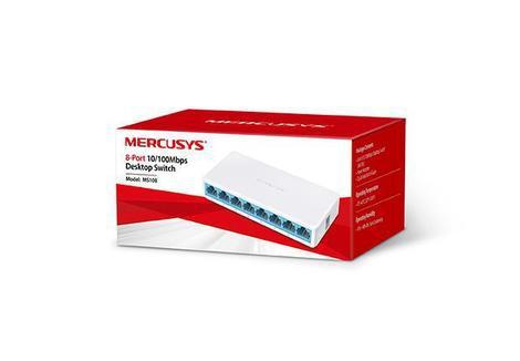 Switch de rede mercusys 8 portas 10/100 ms108 - switch -