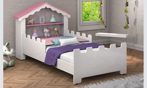Cama casa infantil magia branco/rosa - n&e loja - cama
