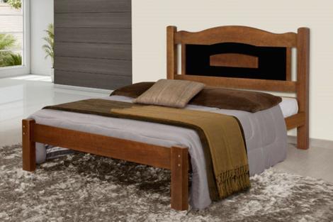 Cama casal 10 de madeira maciça tauari - santilio - cama de