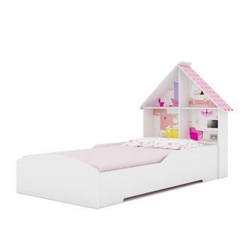 Cama infantil com proteção lateral e cabeceira casinha