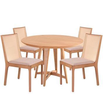 Kit mesa jantar redonda lótus 4 cadeiras clara madeira
