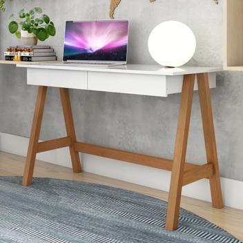 Mesa computador cavalete retrô amêndoa branco - mais de
