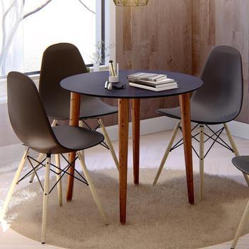 Mesa de jantar redonda veneza - preto - casa d - mesa de