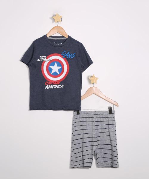 Pijama infantil manga curta capitão américa com listras