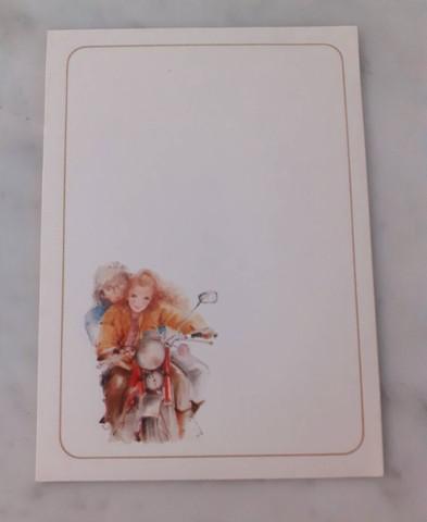 Bloquinho com 10 papéis de carta pequenos anos 80