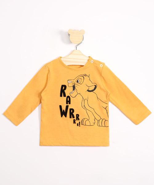 Camiseta infantil simba o rei leão flocado manga longa