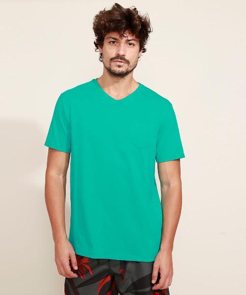 Camiseta masculina básica com bolso manga curta gola v