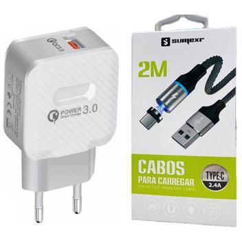 Carregador turbo + cabo magnético 2m tipo c para celular