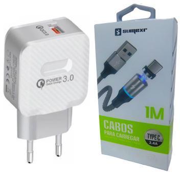 Carregador turbo + cabo magnético p/ samsung s8, s9, s10 -