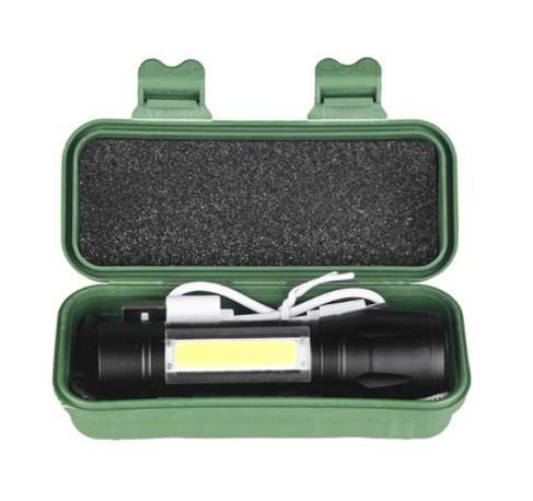 Lanterna tática recarregável luz focal e luz lateral cob