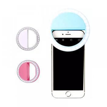 Luz para selfie ring light pequeno com clip flash celular -