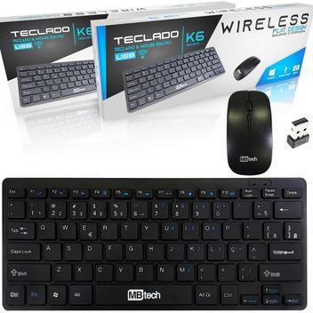 Mini teclado mouse 2.4ghz sem fio wireless sensor ultra fino