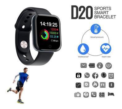 Relógio smartwatch inteligente d20 monitor saúde bluetooth