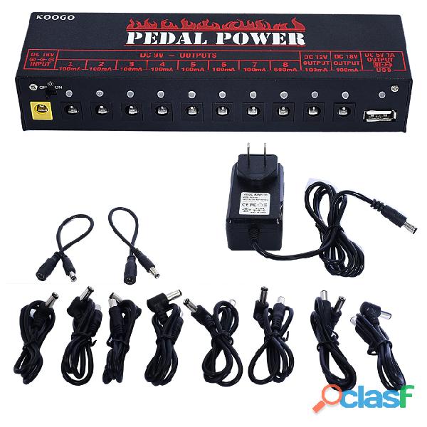 Multi Fonte Koogo Pedais 9v 12v 18v 10 portas mais USB 5v