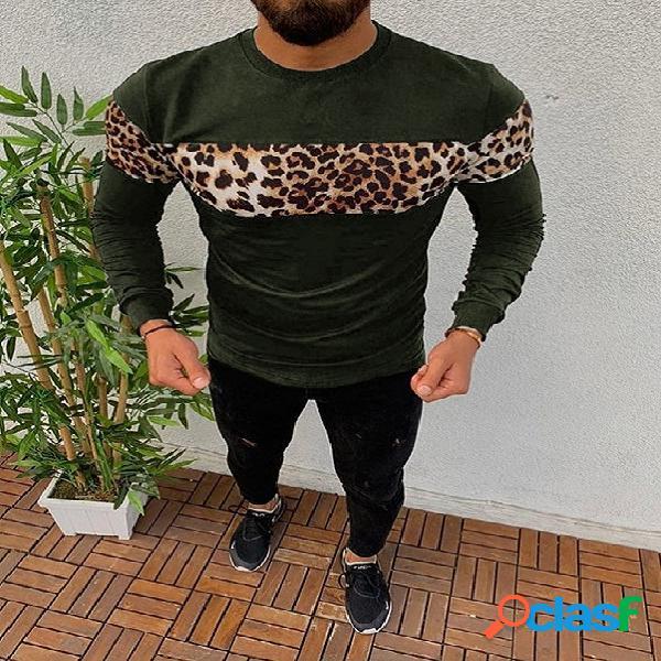 T-shirt de manga comprida masculina outono inverno casual estampa de leopardo patchwork