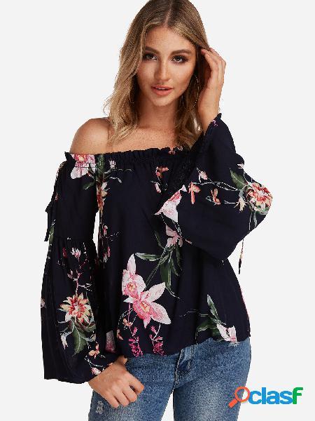 Blusas de manga comprida com estampa floral aleatória