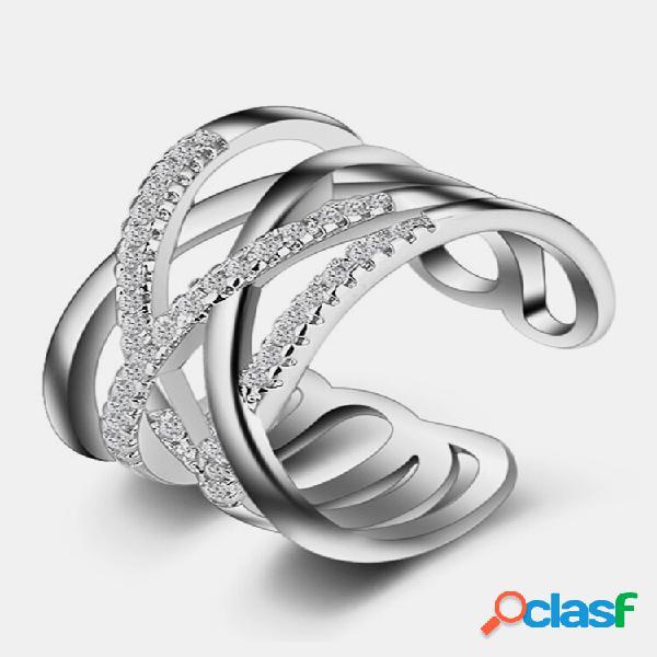 Anel de noivado empilhável entrelaçado transparente cz anéis de noivado de zircônia deslumbrante para presente de joias