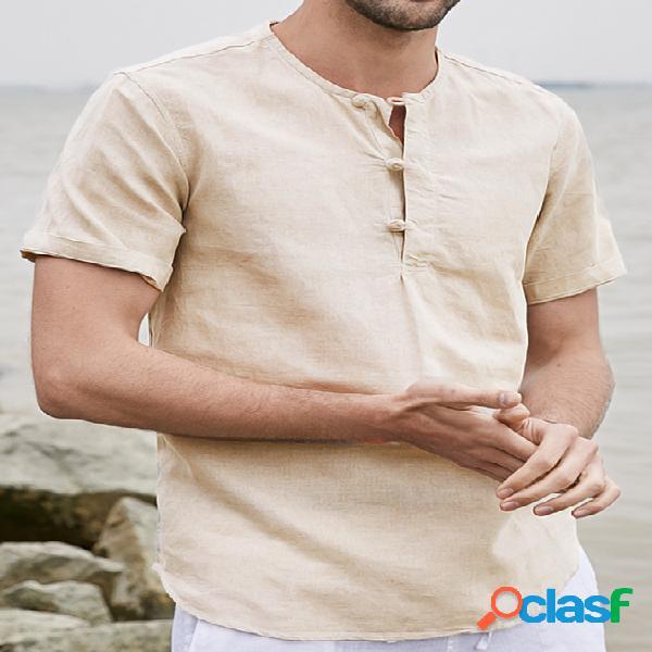 Incerun homens verão casual cor sólida fivela estilo chinês manga curta camisa