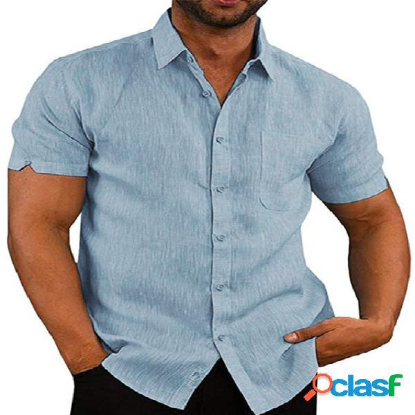 Homem manga curta botão solto verão confortável lazer linho de férias camisa