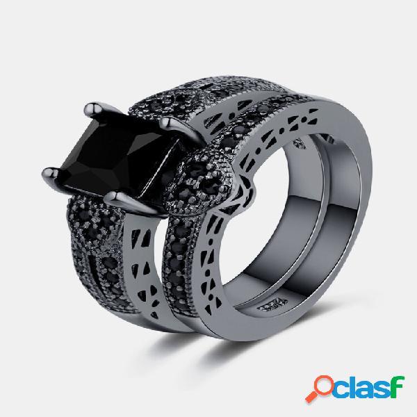 2 unidades / conjunto classic black anel de noivado de zircônia para mulheres punk gun black coração anéis
