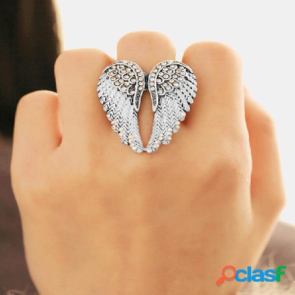 Punk angel's wings ring statement full strass anéis de noivado exclusivos e ajustáveis para mulheres