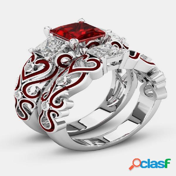 2 unidades de anéis de coquetel empilháveis anéis de zircônia cúbicos vermelhos coração anéis de noivado de casamento pa