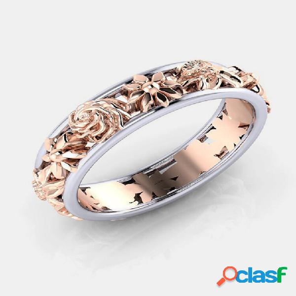Doce rosa flor de ouro dupla cor feminina anéis de noivado joias de casamento para mulheres