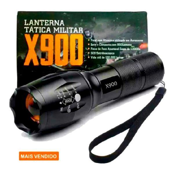 Lanterna tática militar 900 recarregável police com zoom