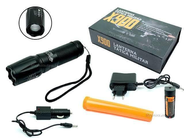 Lanterna tática militar x900 / com kit completo.