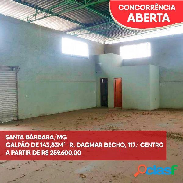 Santa bárbara/mg - galpão comercial - centro