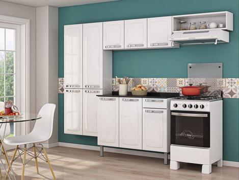 Cozinha compacta itatiaia rose 7 portas aço e - balcão com
