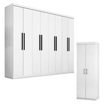 Guarda roupa 1684 branco e armário multiuso 6020 branco -