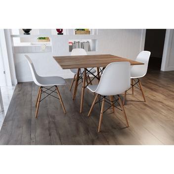 Mesa eiffel wood tampo quadrado de madeira 90 cm amêndoa