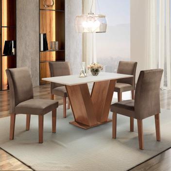 Mesa sala de jantar com 4 cadeiras tampo mdf espanha yescasa