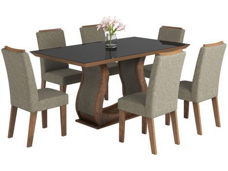 Mesa de jantar 6 cadeiras 6 lugares retangular - tampo de